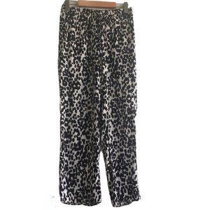 ZARA Black &White Animal Print Wide Leg Trouser XS